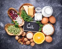 Set of food that is rich in calcium. Top view royalty free stock images