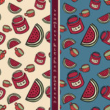 Set of food seamless pattern Royalty Free Stock Photos