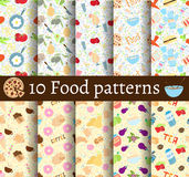 Set of 10 food seamless patterns. Can be used for wallpaper, website background, textile printing royalty free illustration
