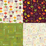 Set of food seamless patterns Stock Image