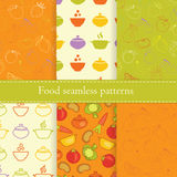 Set of food seamless patterns Royalty Free Stock Images