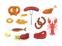 Set of Food and Snack Icons Vector Illustration. Set of food and snack icons such as sausages and chicken, crayfish and fish, potatoes and ham vector Royalty Free Stock Image