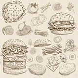 Set of food and spices. Set of chalk sketch hand drawn, in sketch style, food and spices, old paper textured background, Fast food, Hamburger, ingredient Stock Images