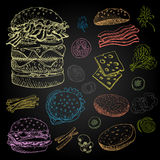 Set of food and spices. Set of color chalk drawn on a blackboard, food, spices Hand drawn, sketch vector illustration Fast food Hamburger, ingredient, mushrooms Royalty Free Stock Image
