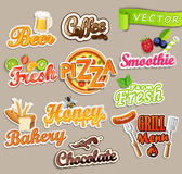 Set of food stickers. stock illustration