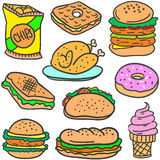 Set of food style various doodles Royalty Free Stock Image