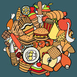 Set of food theme vector illustration