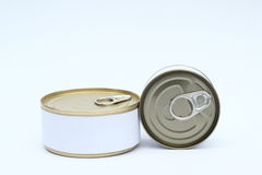 A set of food Tin Can with Blank White Label On white background.  Royalty Free Stock Photography
