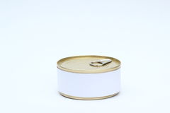A set of food Tin Can with Blank White Label On white background.  Royalty Free Stock Photos
