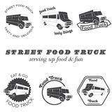 Set of food truck emblems, badges and design elements. Vector illustration Royalty Free Stock Photos