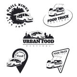 Set of food truck emblems, icons and badges. Urban, street food Royalty Free Stock Photography