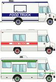 Set of food trucks isolated on white background in flat style. Vector illustration. Stock Photography