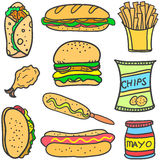 Set of food various doodles Stock Photography