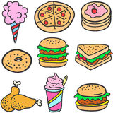 Set of food various style doodles Stock Images