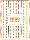 Set of food vector brushes with corner tiles. Food Attack. Stock Photography