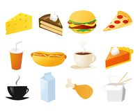 Set of food vector icons. On white vector illustration