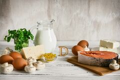 A set of food with vitamin D. Ingredients high in vitamin D: milk, butter, salmon, cheese, mushrooms, eggs, parsley and fish fat
