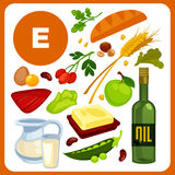 Set food with vitamin E. Set with illustrations of food with vitamin E. Ingredients for health: oil, bread and butter, pea, liver, rose hips. Healthy nutrition Stock Photo