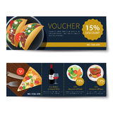 Set of food voucher discount template design Stock Images