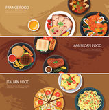 Set of food web banner flat design.France food,American food, It Stock Photo