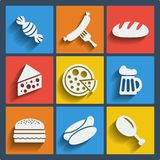 Set of 9 food web and mobile icons. Vector. Set of 9 food vector web and mobile icons in flat design vector illustration