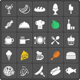 Set of 25 food web and mobile icons. Vector. Set of 25 food vector web and mobile icons in flat design Stock Image