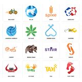 Set of foot print, taxi, bull horn, stair, carpet, fishing hook, logistics company, spike, bike shop icons. Set Of 16 simple  icons such as foot print, taxi, 10 Stock Images