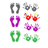 Set foot prints and palm prints. Set foot prints and a palm prints Royalty Free Stock Photos