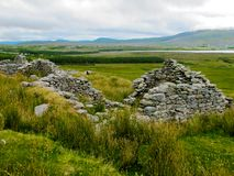 The deserted village at Slievemore, Achill, Mayo, Ireland stock image