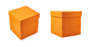 Set of Foot stool ottoman pouffe over isolated white background Stock Photography