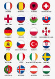 Set of football buttons with flag design of european teams Stock Images