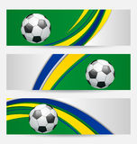 Set football cards in Brazil flag colors Royalty Free Stock Images