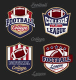 Set of football college league badge logo. With four color design. Suitable for T-shirt apparel design. Vector illustration Royalty Free Stock Photos