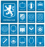 Set of football crest on blue tag in flat design. Football logo emblem. Football badge. Vector Stock Photography