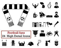 Set of 24 Football Fans Icons Stock Photo