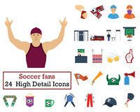 Set of 24 Football Fans Icons Royalty Free Stock Photo