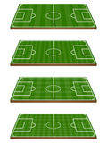 Set of Football Fields 3D Perspective 2 Royalty Free Stock Photos