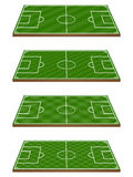 Set of Football Fields 3D Perspective 3 Royalty Free Stock Photo