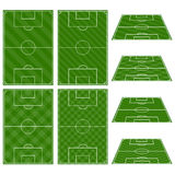 Set of Football Fields with Diagonal Patterns Royalty Free Stock Photos