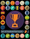 Set of football flat icons Stock Photography