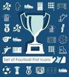 Set of football flat icons Stock Photos