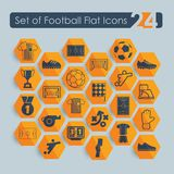 Set of football flat icons Royalty Free Stock Photos