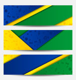 Set football flyers in Brazil flag colors Royalty Free Stock Photos