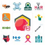 Set of football helmet, educational institute, breast cancer ribbon, 100 year anniversary, boxing club, vape, kiwi, customer satis. Set Of 13 simple  icons such Stock Photos