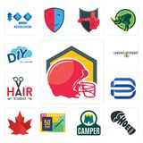 Set of football helmet, shoe print, camper, 50 years anniversary, canada leaf, minimal b, hair studio, unemployment, diy icons. Set Of 13 simple editable icons Stock Photos