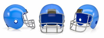 Set of Football Helmets. Isolated on white. 3d illustration Royalty Free Stock Images