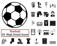 Set of 24 Football Icons Stock Images
