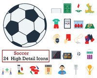 Set of 24 Football Icons Royalty Free Stock Images