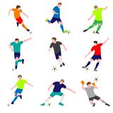 Set of football players with ball isolated on white background stock illustration