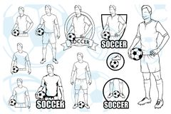 Set Of Football Players With Balls. Soccer player with a ball. Soccer logo. Soccer game Royalty Free Stock Image